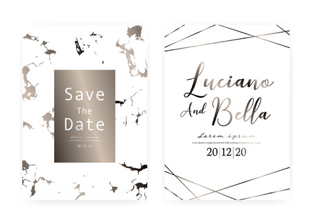 Marble wedding invitation card, Save the date wedding card, Modern card design with marble texture, Vector illustration. Reklamní fotografie - 122553498