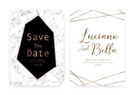 Marble wedding invitation card, Save the date wedding card, Modern card design with marble texture, Vector illustration. Reklamní fotografie - 122553502