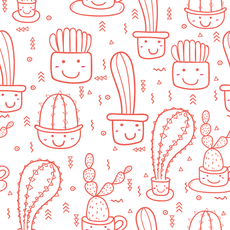 Cute seamless cactus pattern background. Vector illustrations for gift wrap design. Reklamní fotografie - 122342307