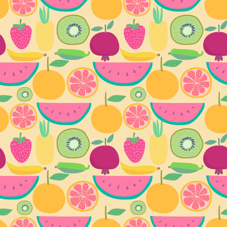 Seamless pattern with fruit background. Vector illustrations for gift wrap design. Reklamní fotografie - 122876536