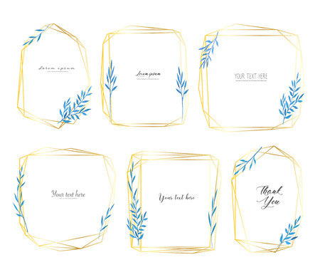 Set of geometric frame with leaves watercolor, Botanical composition, Decorative element for wedding card, Invitations Vector illustration. Ilustrace