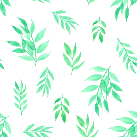 Seamless pattern with leaves watercolor background. Vector illustration. Ilustrace