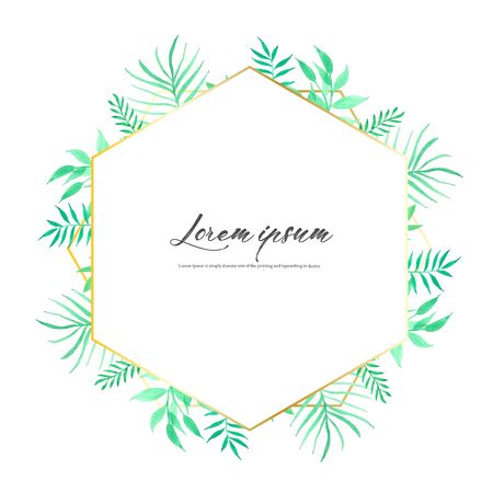 Geometric frame with leaves watercolor, Botanical composition, Decorative element for wedding card, Invitations Vector illustration. Ilustrace