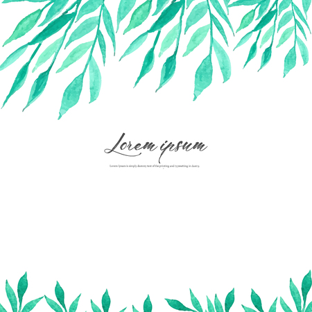 Watercolor leaves on white background. Minimalistic vector frame with leaves watercolor. Botanical composition, Decorative element for wedding card, Invitations Vector illustration.