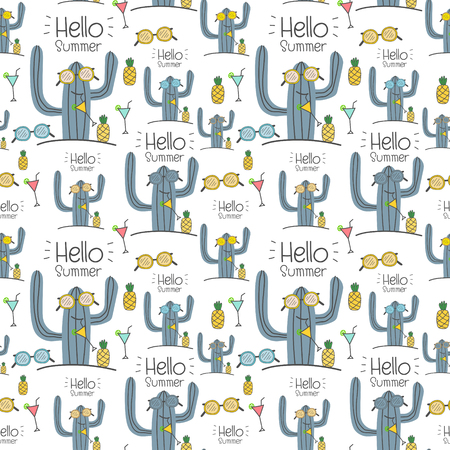Seamless cactus pattern background. Vector illustrations for gift wrap design. Ilustrace