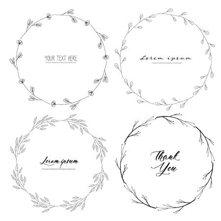 Set of botanical round frame, Hand drawn flowers, Botanical composition, Decorative element for Invitations card, Vector illustration. Ilustrace
