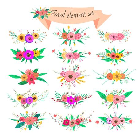 Floral element set. Vector decorative flower and leaf. Spring elements.