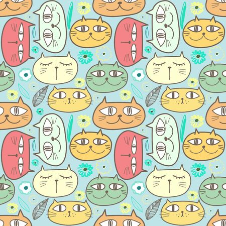Cute cat seamless pattern background. 矢量图像