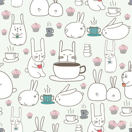 Cute bunny seamless pattern background. Vector illustration for fabric and gift wrap design.