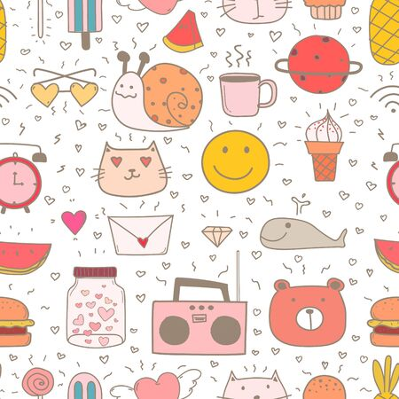 Doodle Cartoon Seamless Pattern Background For Kid. Vector illustration for fabric and gift wrap paper design.  Ilustracja