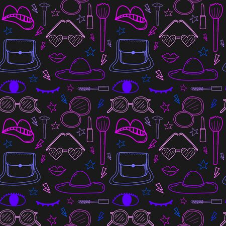 Accessories fashion seamless pattern background. Vector illustration. Çizim