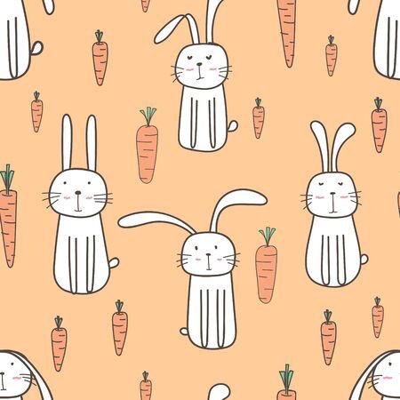 Cute bunny seamless pattern background. Vector illustration. Stock Illustratie