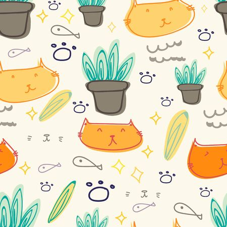Cute cat seamless pattern background. Vector illustration.  イラスト・ベクター素材