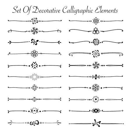 Set van decoratieve kalligrafische elementen voor decoratie. Handgemaakte vectorillustratie.