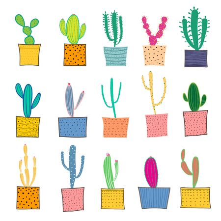 Hand drawn cactus in the pots. Vector illustration. 矢量图像