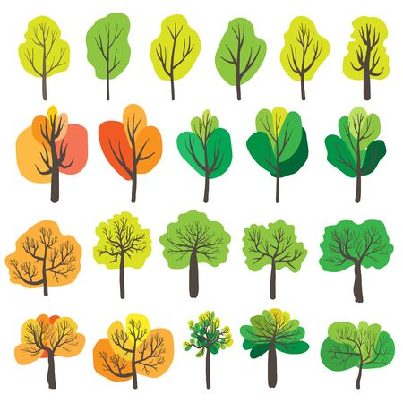 Set of trees isolated on white background. Vector illustration.