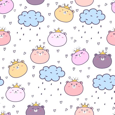Cute bear seamless pattern background. Vector illustration.