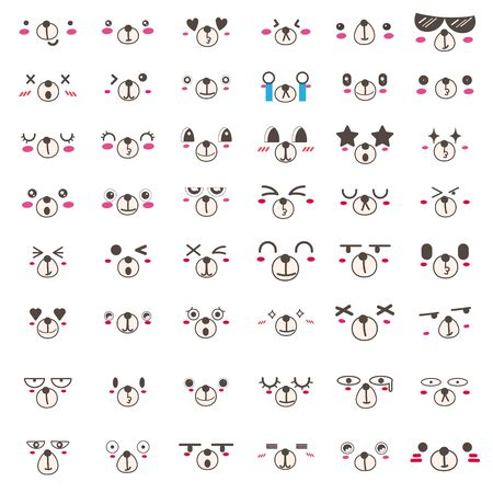 Set of kawaii bear face icon design. Vector illustration.