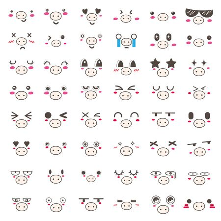 Set of kawaii pig face icon design. Vector illustration.