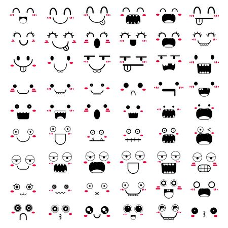 Set of face icon design. Vector illustration.