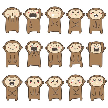 Set of cute monkey character design. Vector illustration. 矢量图像