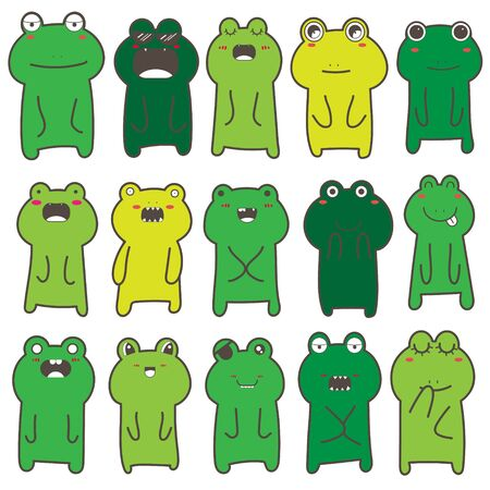 Set of frog character design. Vector illustration.