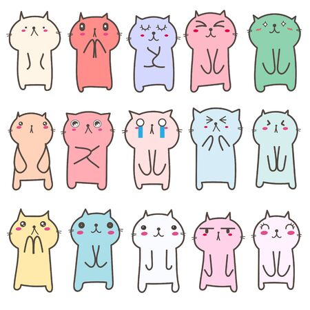 Set of cute cat character design. Vector illustration.