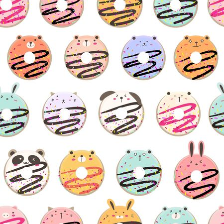 Cute ice cream seamless pattern background. Vector illustration. 矢量图像