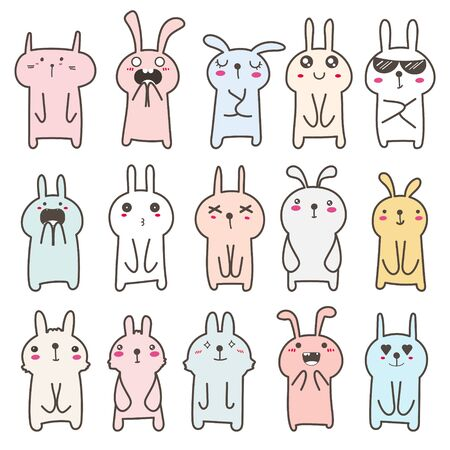 Set of cute bunny character design. Vector illustration.