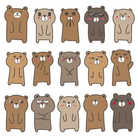 Set of cute bear character design. Vector illustration. 矢量图像