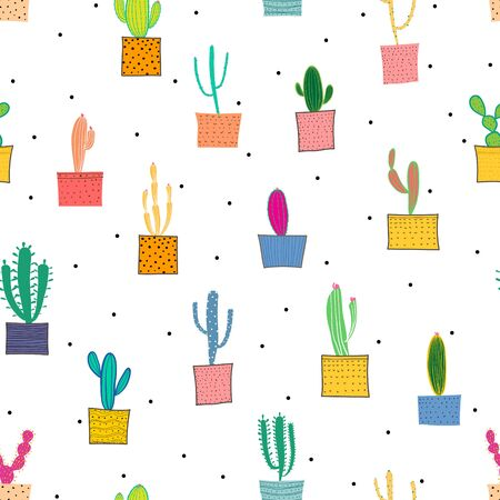 Cactus seamless pattern background.
