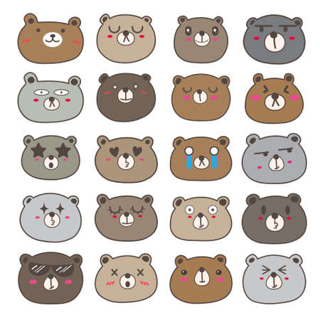 Set of bear face emoticons, Cute bear character design. Vector illustration.
