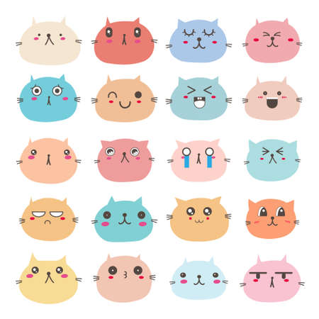 Set of cat face emoticons, Cute cat character design. Vector illustration. 矢量图像