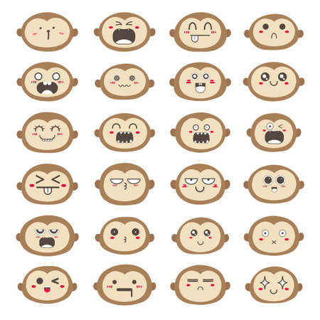 Set of monkey face emoticons, Cute monkey character design. Vector illustration.