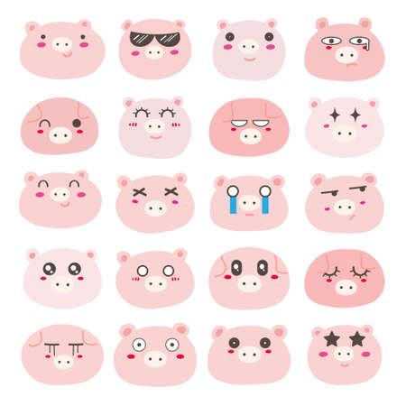 Set of pig face emoticons, Cute pig character design. Vector illustration.