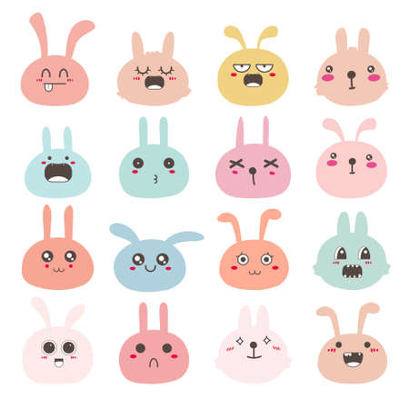 Set of bunny face emoticons, Cute rabbit character design. Vector illustration.