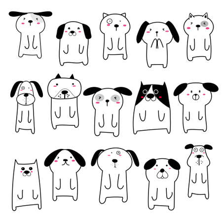 Set of cute dog character design. Vector illustration. 矢量图像
