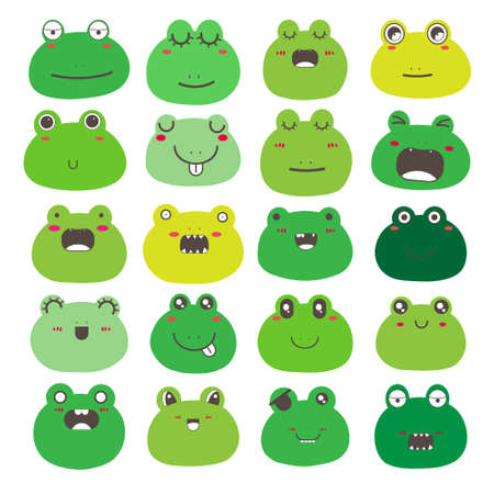 Set of frog face emoticons, Cute frog character design. Vector illustration. 矢量图像