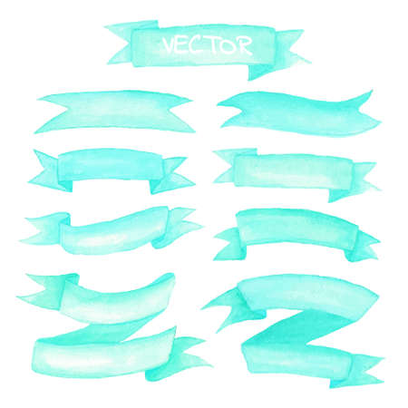 Watercolor ribbons and label elements set. Hand drawn vector illustration.