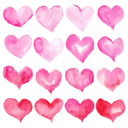 Heart watercolor set for Happy Valentine's day card design. Hand drawn vector illustration. 矢量图像