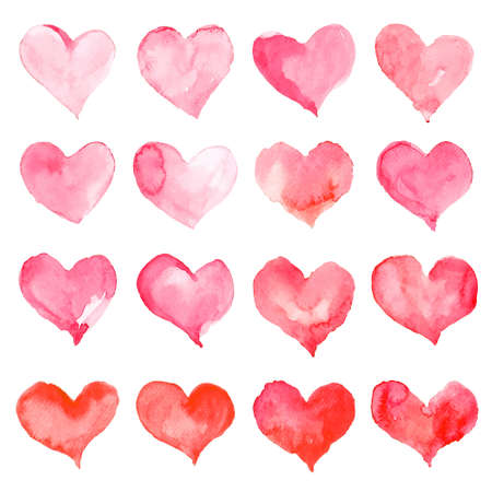 Heart watercolor set for Happy Valentine's day card design. Hand drawn vector illustration.