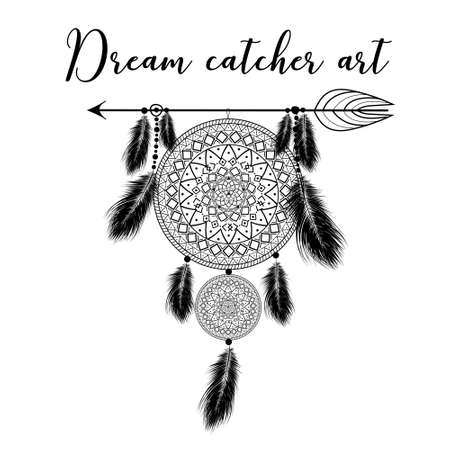Hand drawn indian dreamcatcher with feathers. Vector illustration. Ethnic design, boho chic, tribal symbol.