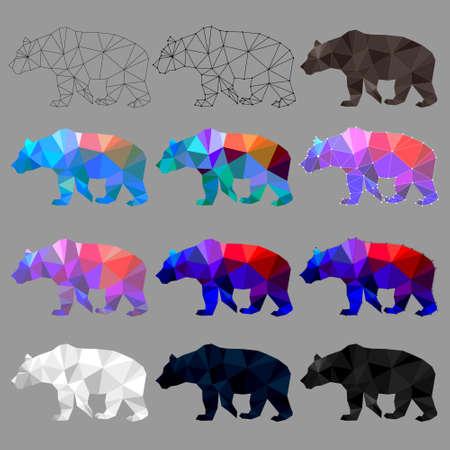 Set of bear polygon geometric. Vector illustration. 矢量图像