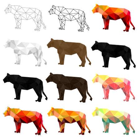Set of lion polygon geometric. Vector illustration.