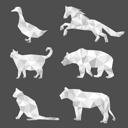 Set of polygon geometric animal isolated on white background. Vector illustration. 矢量图像