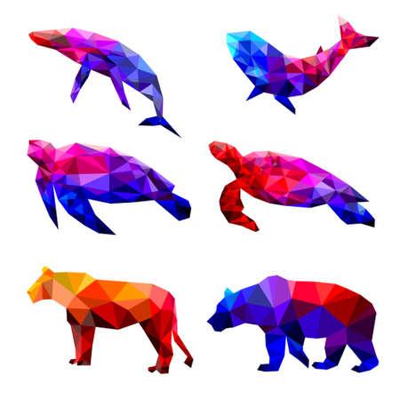 Set of turtle polygon geometric. Vector illustration. 矢量图像