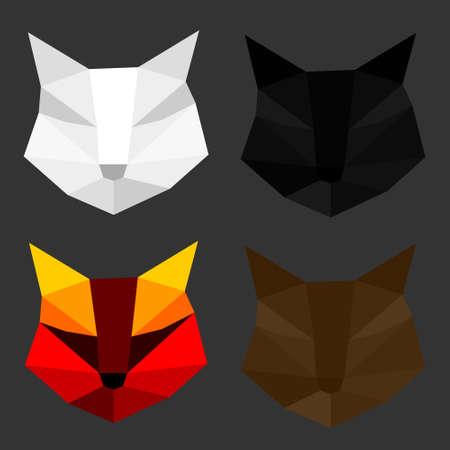 Set of cat polygon geometric. Vector illustration.