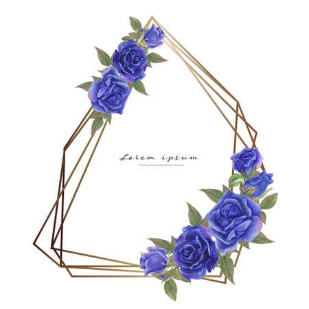 Rose watercolor frame. Floral wreath vector illustration.