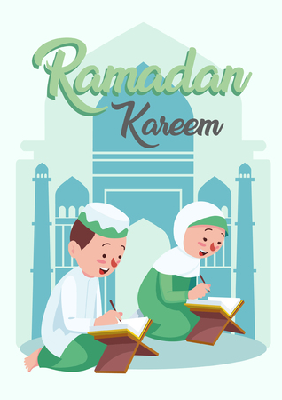 Vector illustration of The Muslim couple read the Koran to welcome Ramadan Kareem. The celebration of Muslim community festival. Ramadan is greatest and holy month in muslim