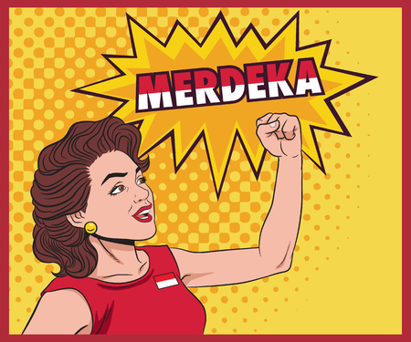 Pop art retro woman Clenched his hands and yelled Merdeka. Vector stock of Independence Day of Indonesia. Illustration